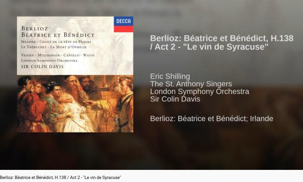 Berlioz Béatrice et Bénédict Le Vin de Syracuse