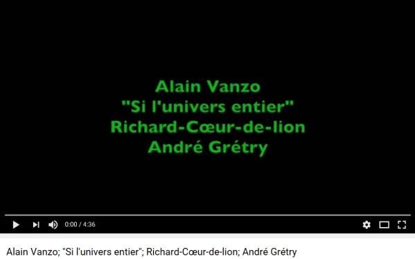 Grétry Richard Coeur de lion si l'univers