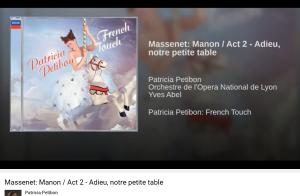 Massenet Manon Adieu notre petite table Petibon
