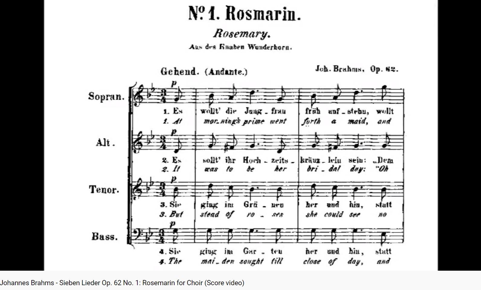 Brahms opus 62 Rosemarin