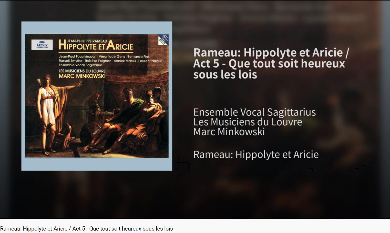 Rameau Hippolyte et Aricie Que tout soit heureux sous les lois (Diane)