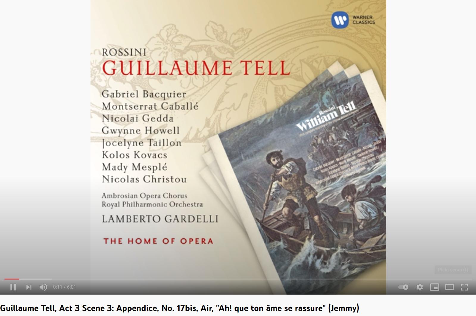 Rossini Guillaume Tell Ah que ton âme se rassure (Jemmy)