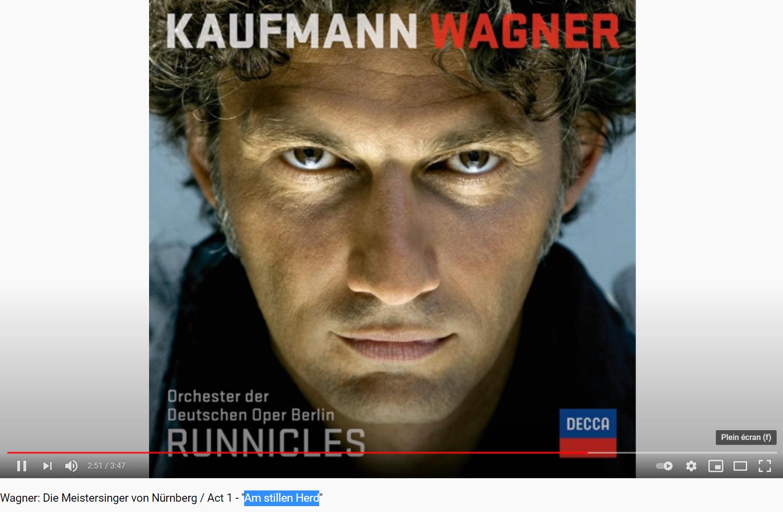 Wagner les Maîtres-chanteurs Am stillen Herd (Walter acte I)